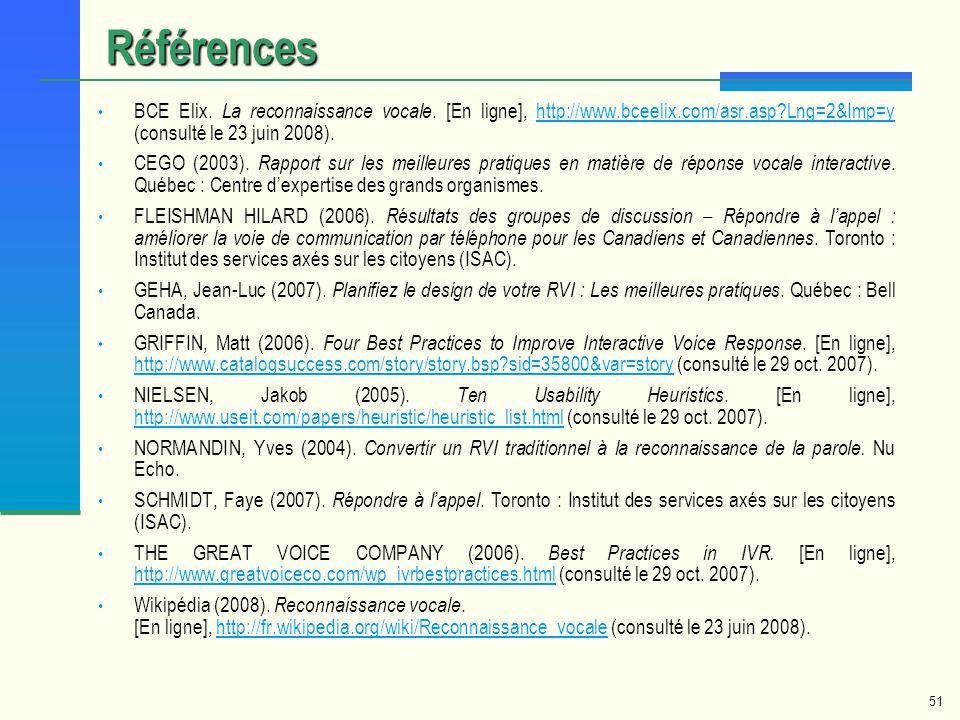 Références BCE Elix. La reconnaissance vocale. [En ligne], http://www.bceelix.com/asr.asp Lng=2&Imp=y (consulté le 23 juin 2008).